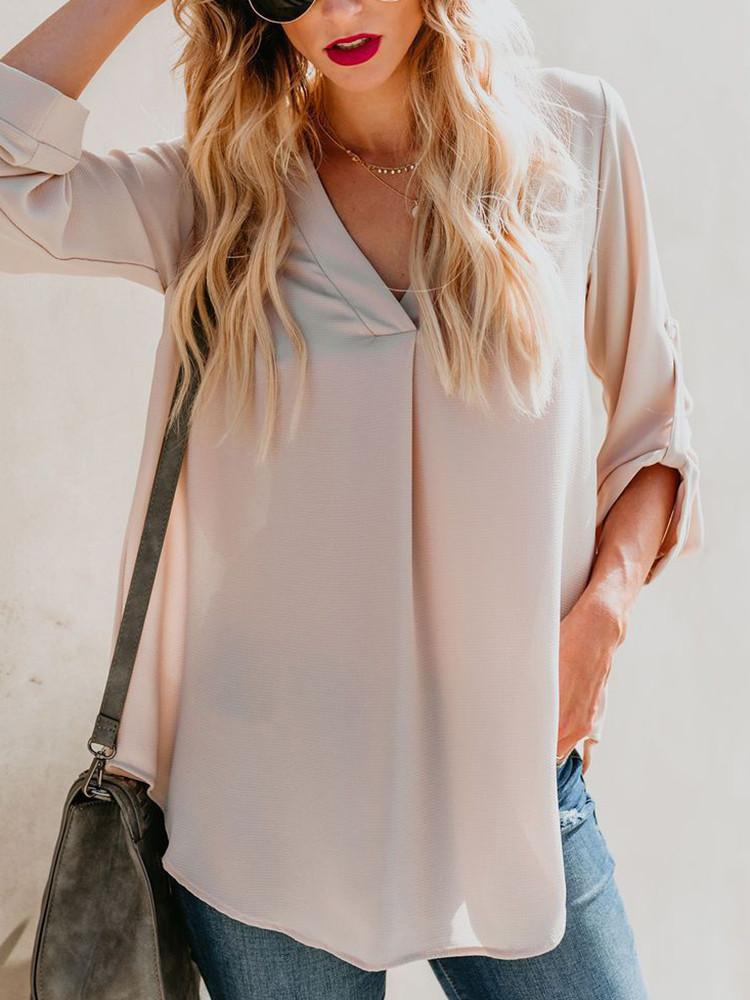 Solid V-Neck Adjustable Long-Sleeve Blouse - JNjeans