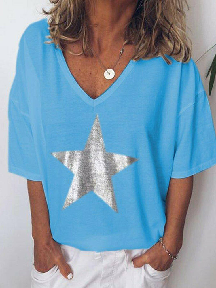 Star Print Loose V-neck Short Sleeve T-shirt - JNjeans
