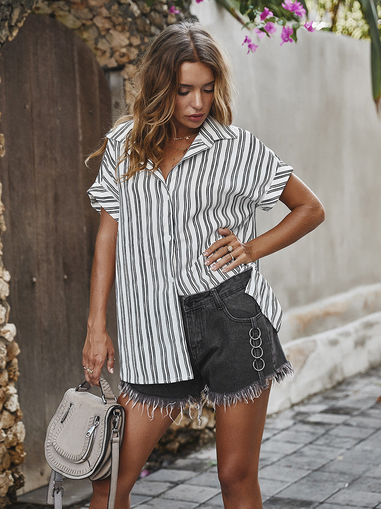 Striped Printed Short Sleeve Loose Shirt - JNjeans