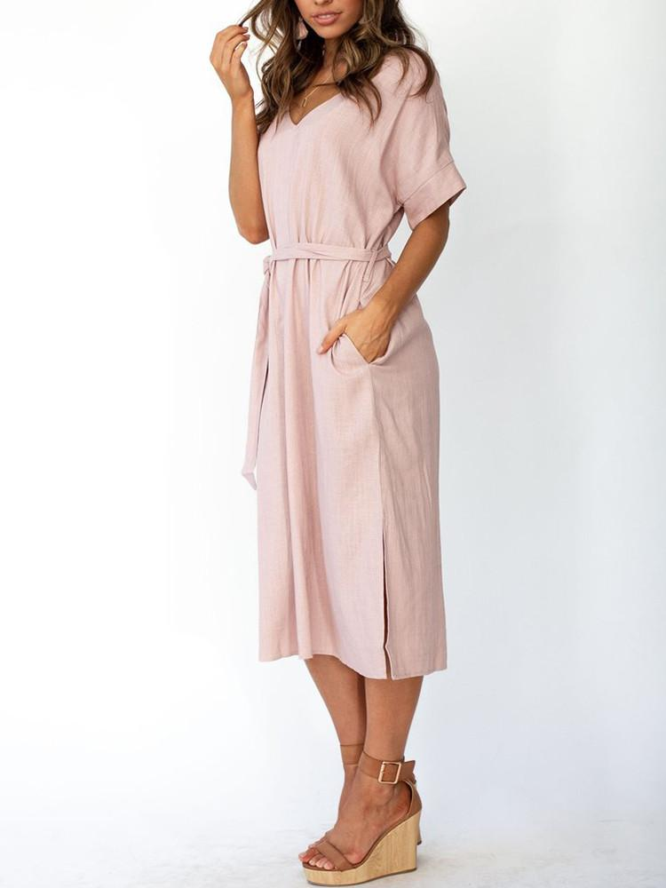 Solid V-Neck Belted Midi Dress - JNjeans