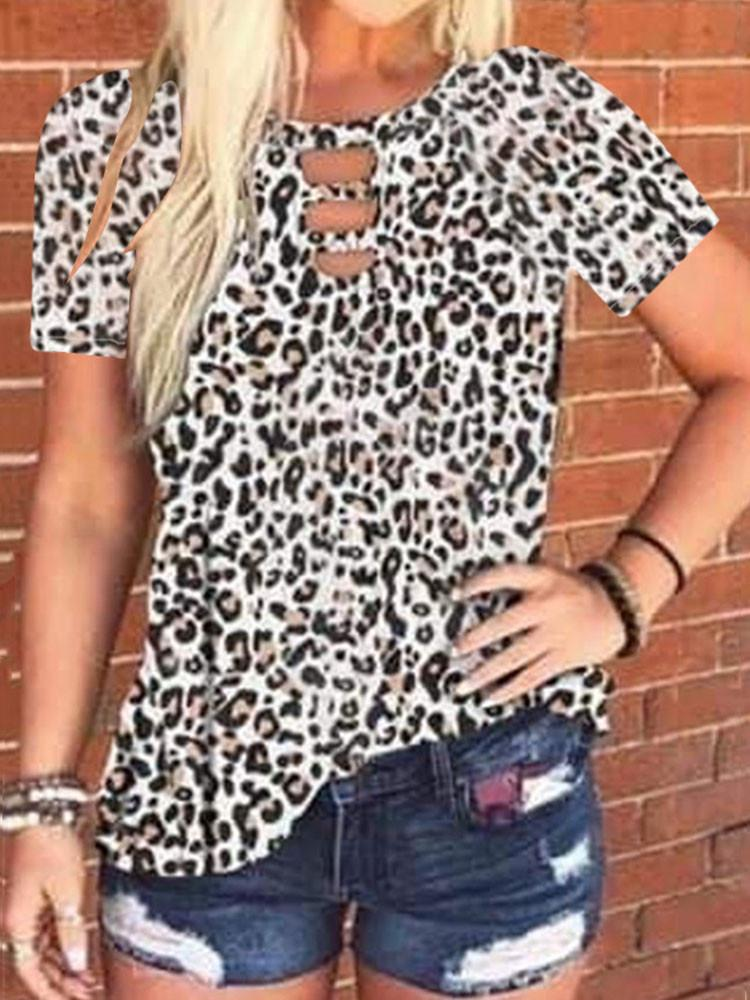 Cut Out Neck Tie-dye Leopard T-shirt - JNjeans