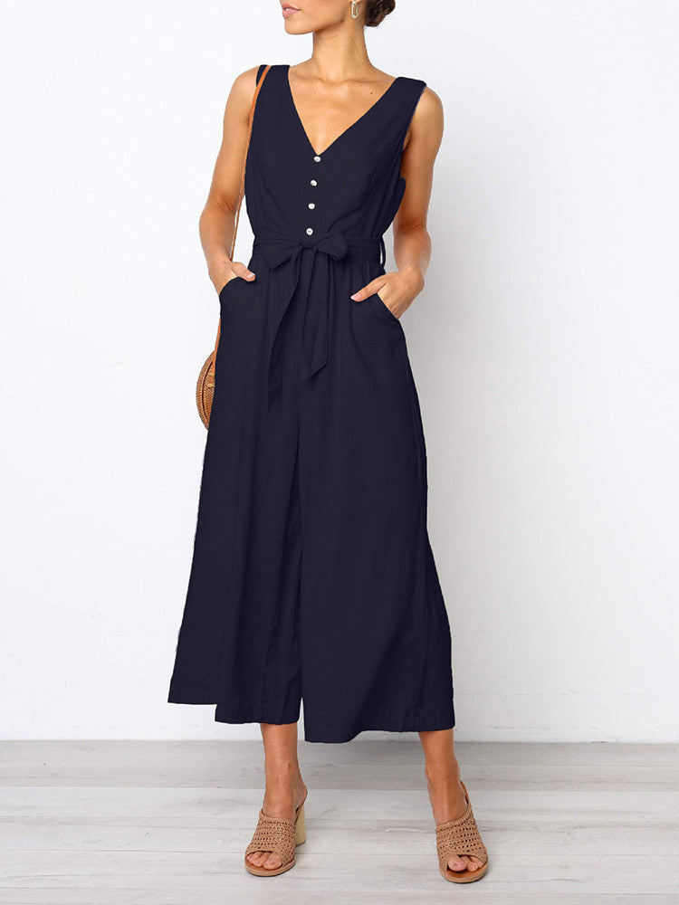 V-neck Solid Color Wide Leg Jumpsuit - JNjeans