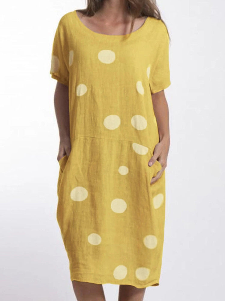 Polka Dots Pockets Casual Midi Dress - JNjeans