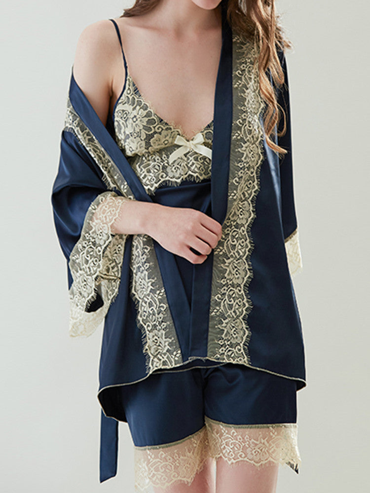 V-neck Lace Stitching Three-piece Sleepwear - JNjeans