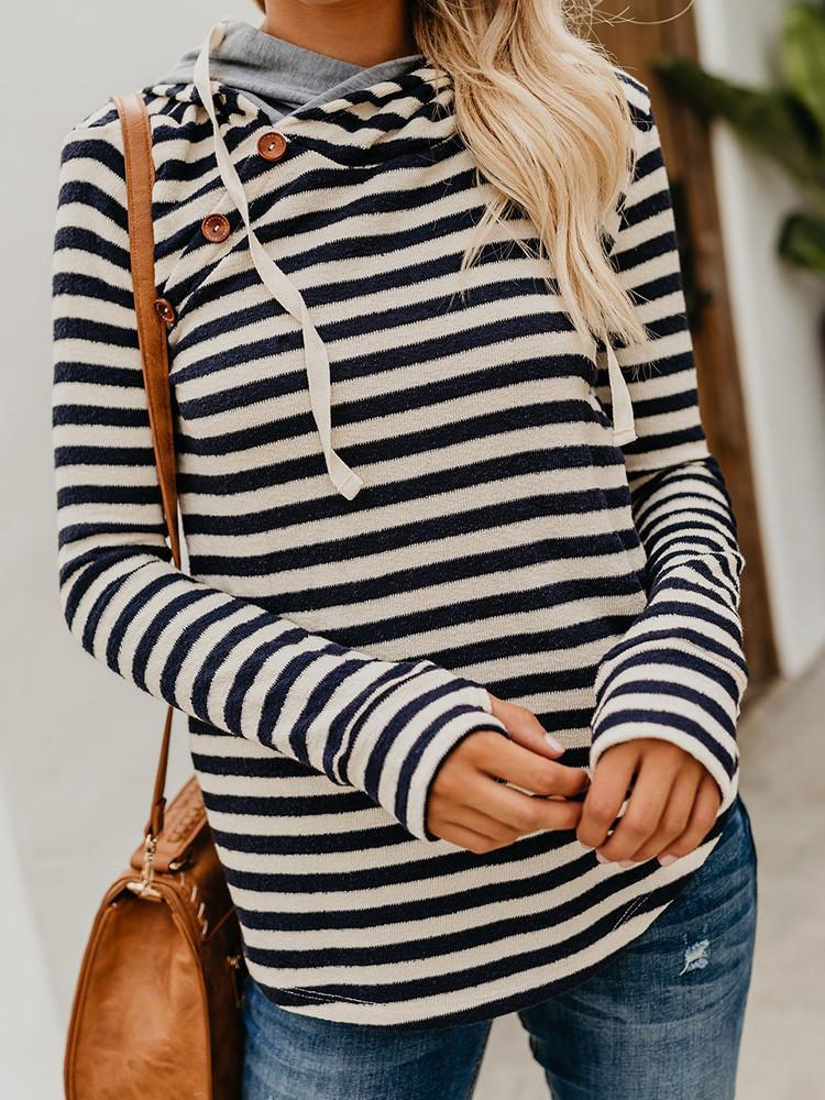 Womens-Striped-Oblique-Button-Embellished-Hoodie