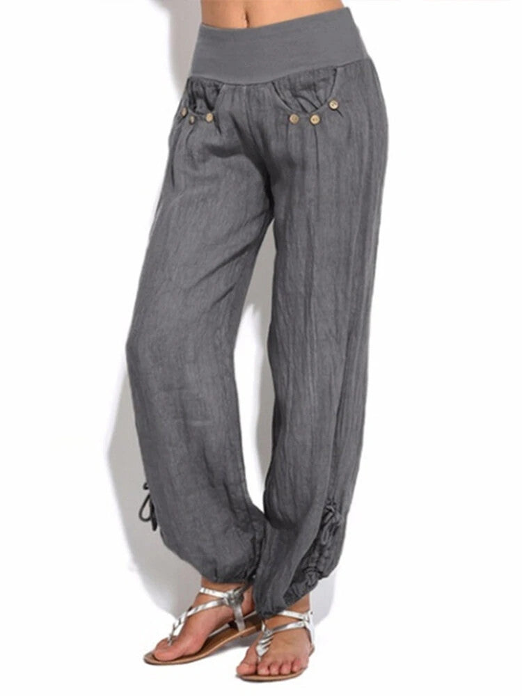 Buttoned Pocket Fluid Puffy Yoga Pant - JNjeans