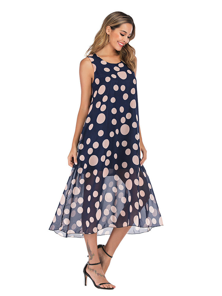 Chiffon Floral Printed Sleeveless Dress - JNjeans