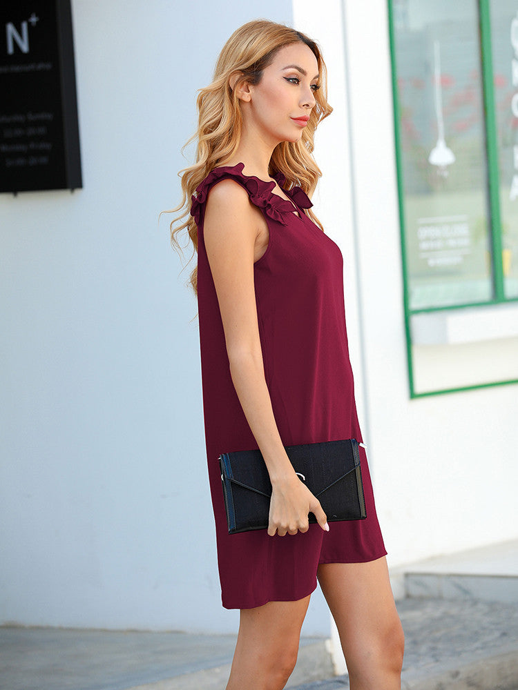 Ruffle V Neck Mini Dresses - JNjeans
