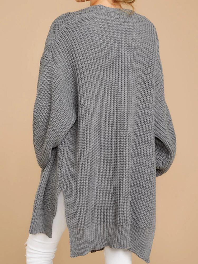 Hollow-Solid-Side-Slit-Long-Cardigan