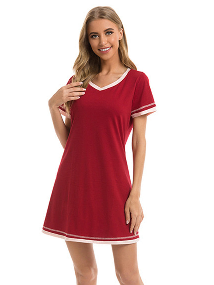 Contrast Cotton Casual Sleep Dress - JNjeans