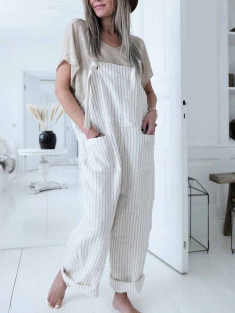 Casual Pockets Stripe Jumpsuit - JNjeans