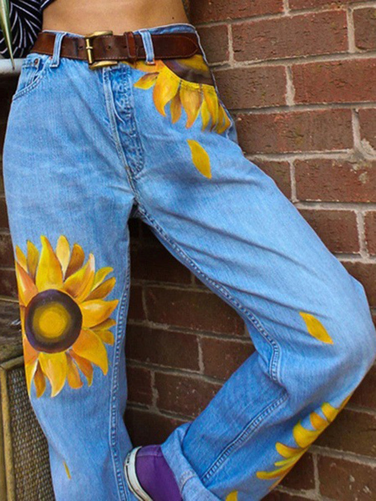 Washed Sun Flower Loose Jeans - JNjeans