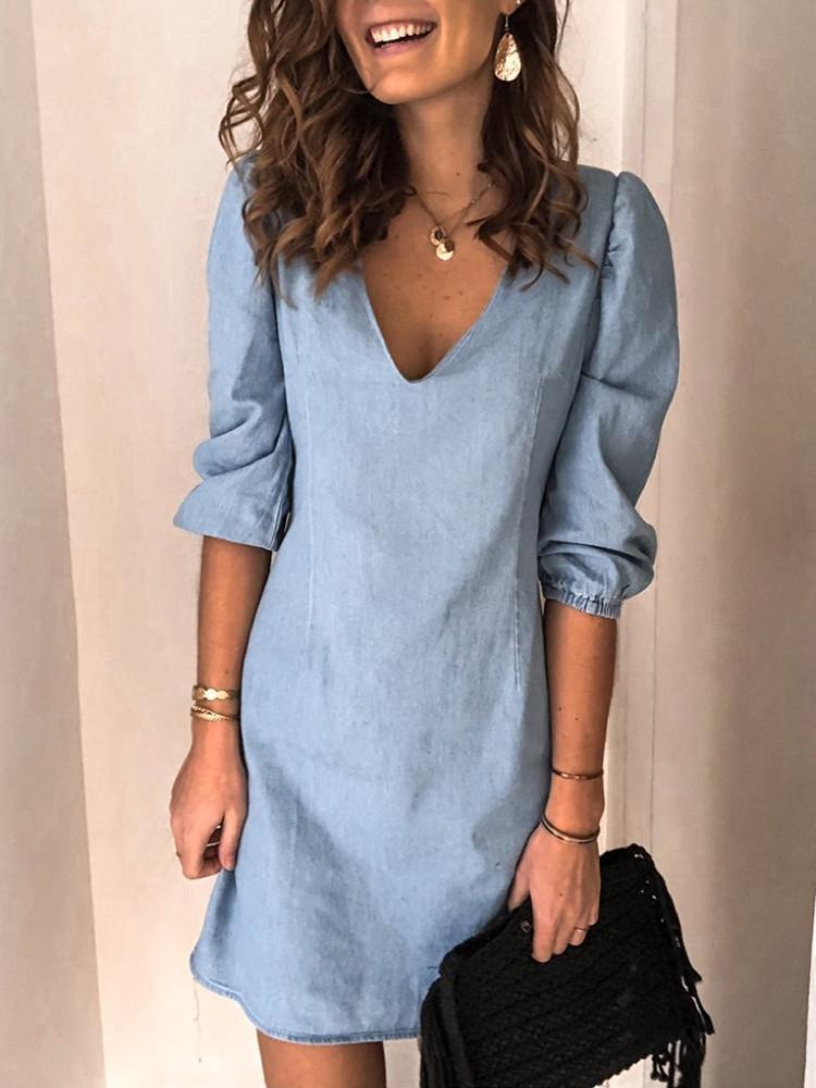 Denim V-Neck Half-Sleeve Tunic Mini Dress - JNjeans