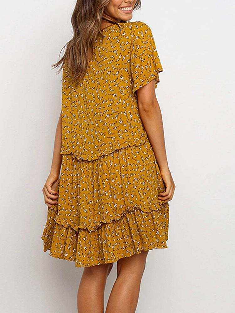 Floral Round-Neck Flare-Sleeve Smock Mini Dress - JNjeans