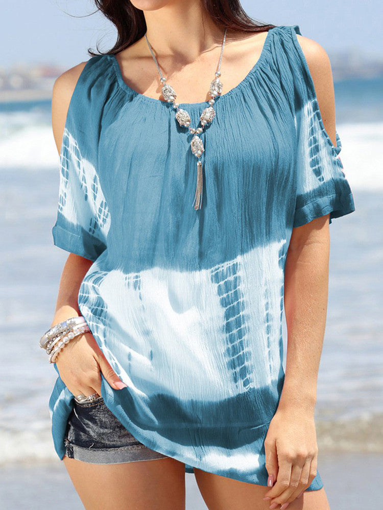 Round Neck Tie-dye Print Off-the-shoulder T-shirt - JNjeans