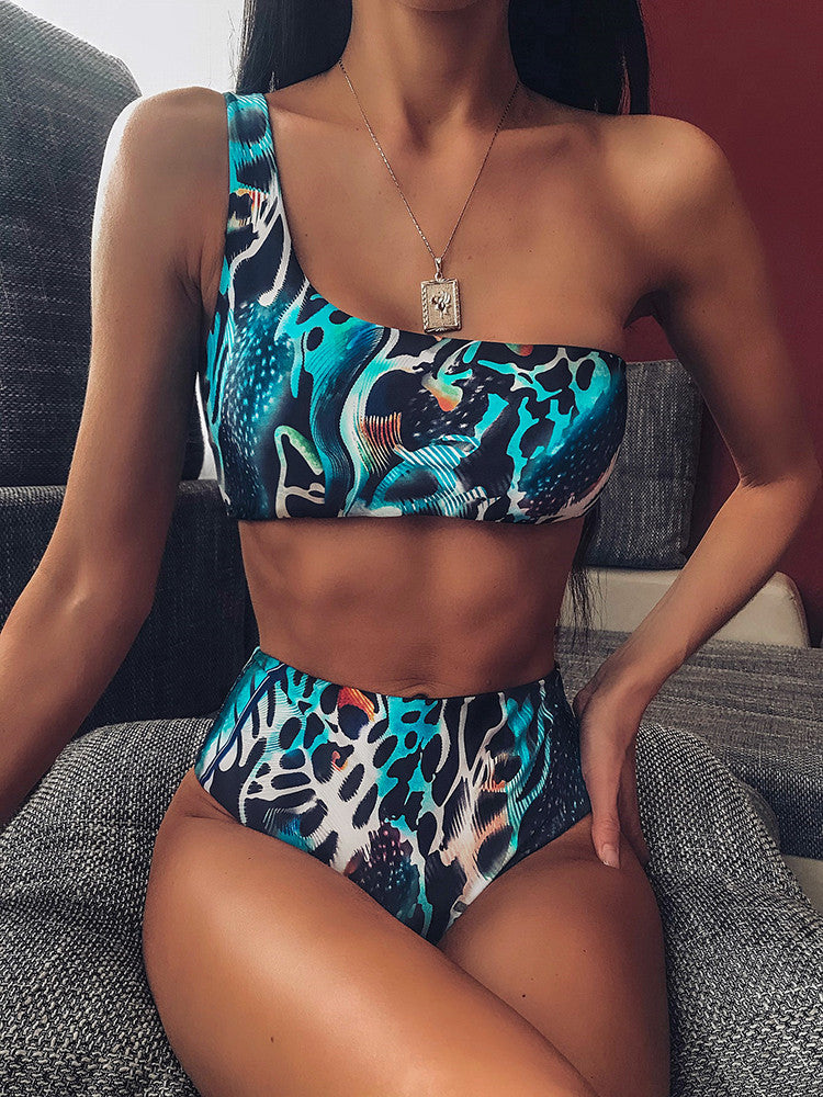 One Shoulder Snake Print High Waist Bikini - JNjeans
