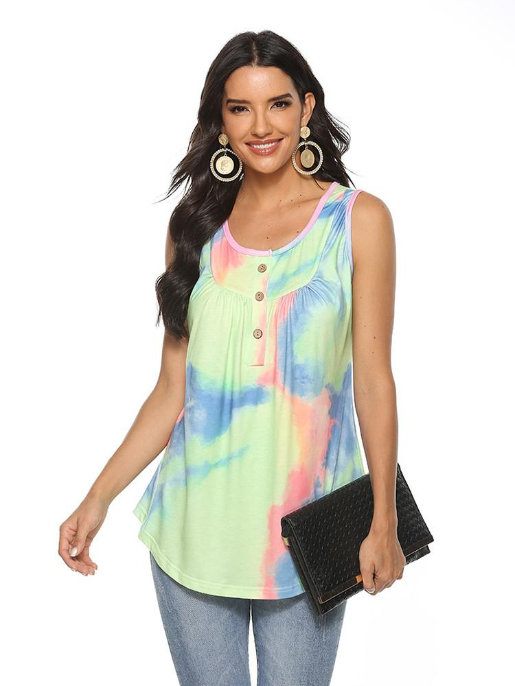 Tie-dye Button Loose Swing Tank Top - JNjeans