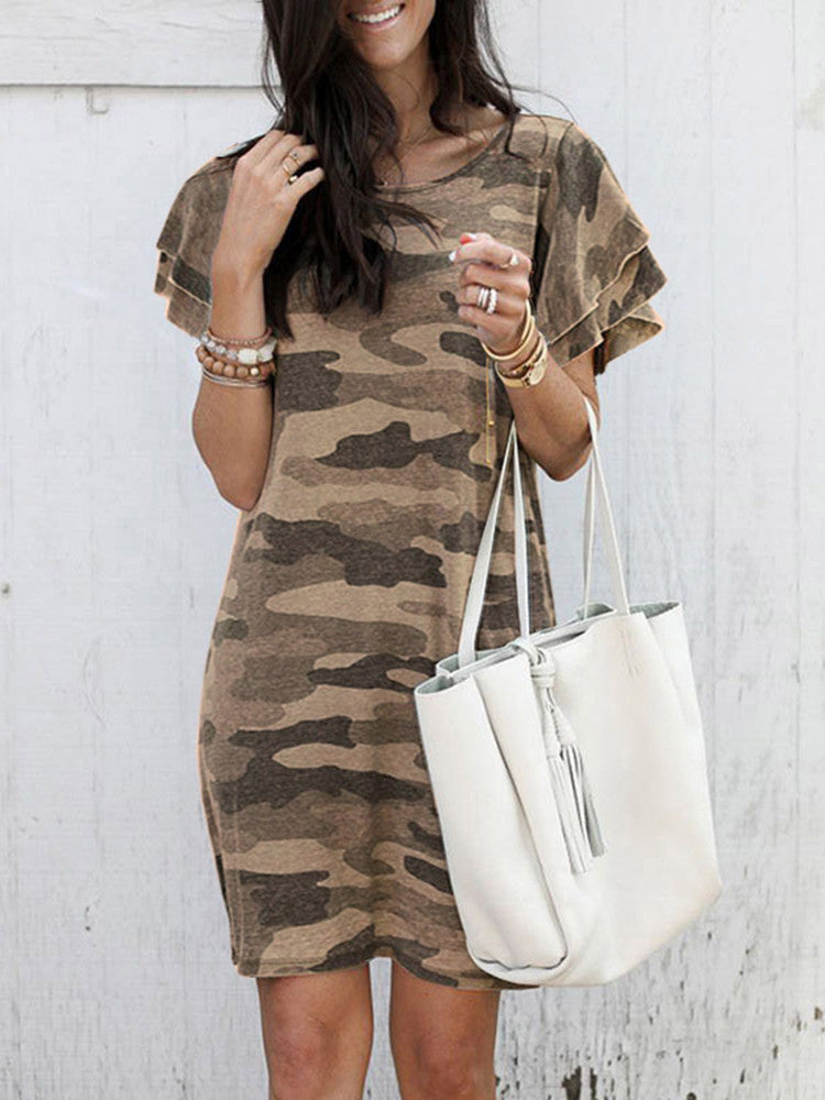 Camouflage Ruffle Sleeve Casual Dress - JNjeans