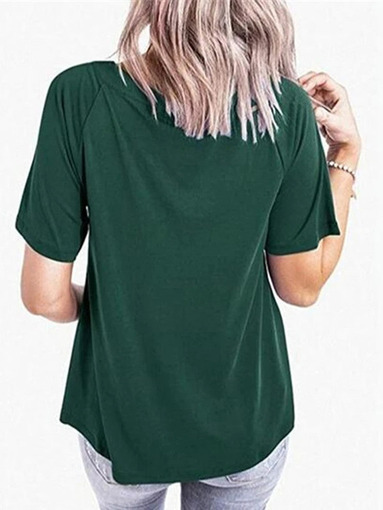 Sexy V-neck Hollow Out Solid T-shirt - JNjeans