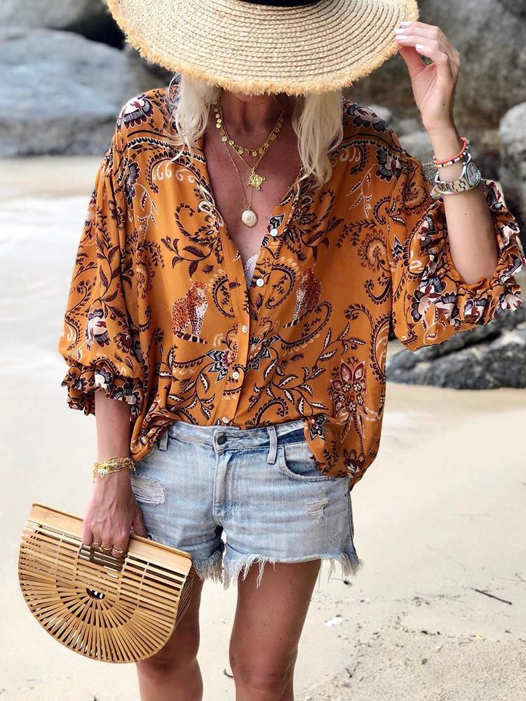 Floral Button-Down Round-Neck Long-Sleeve Elastic-Cuff Blouse - JNjeans