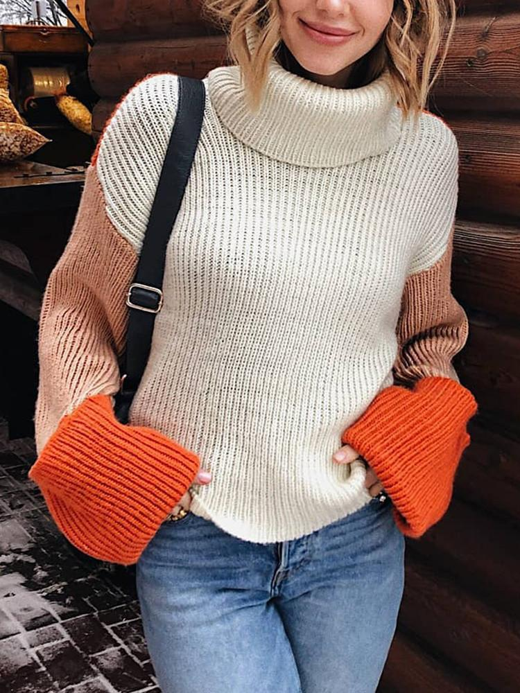Three-color-Matching Turtleneck-Patchwork-Sweater