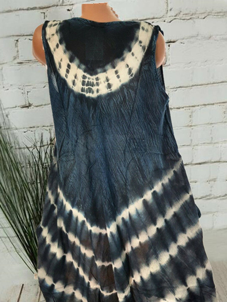 Printing Crew Neck Loose Sleeveless Dress - JNjeans