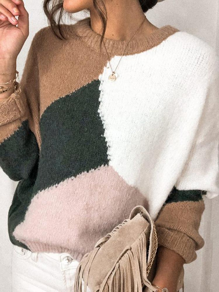 Round-Neck-Solid-Color-Block-Sweater