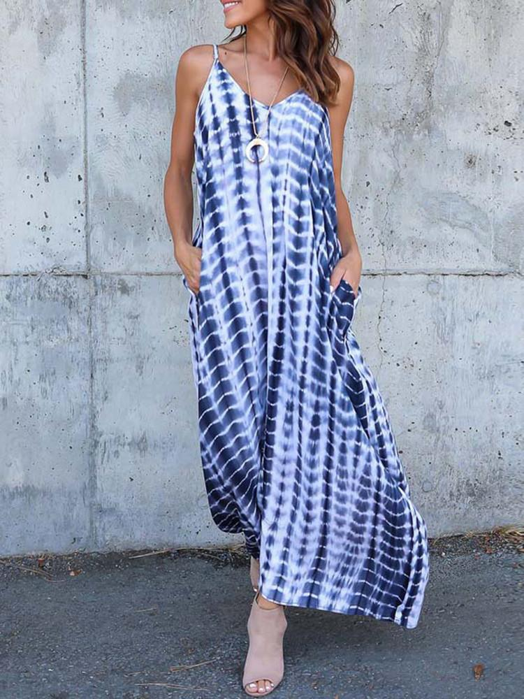Floral Striped Spaghetti-Straps Plus-Size Maxi Dress - JNjeans