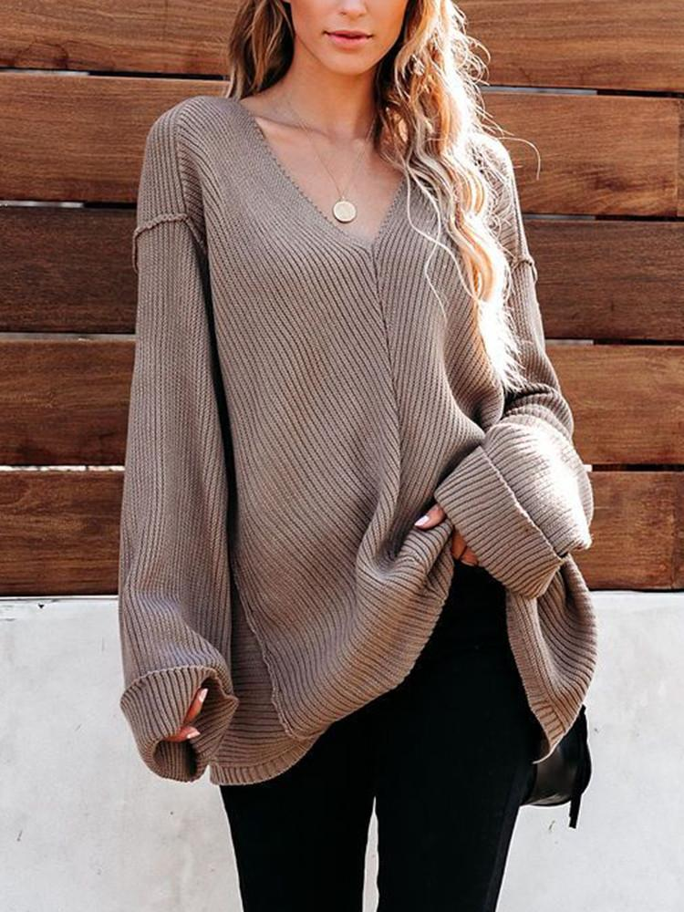 V-neck-Stitching-Ribbed-Loose-Sweater