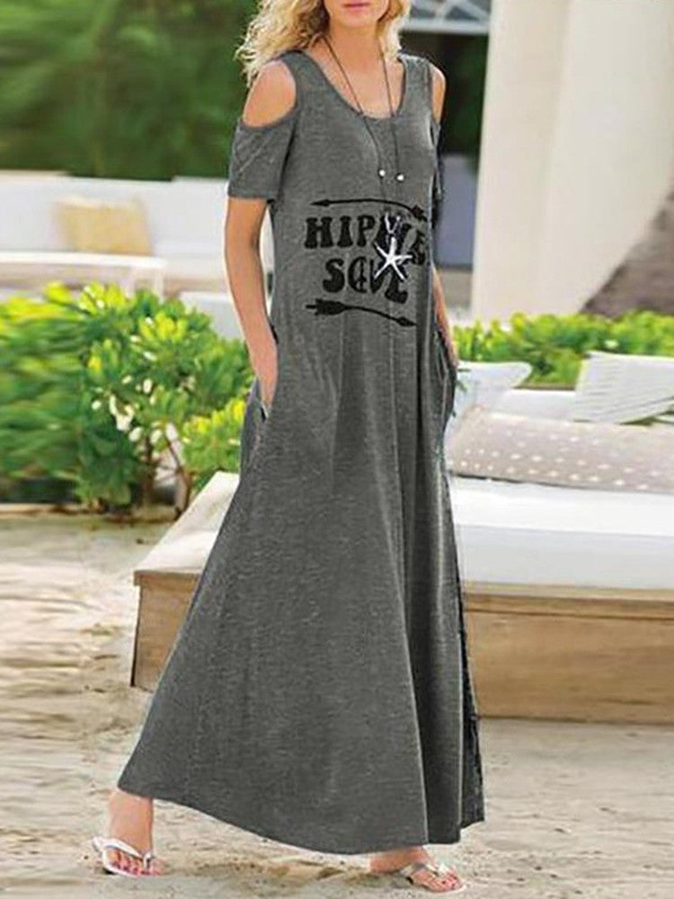 Cold Shoulder Short Sleeve Long Dress - JNjeans