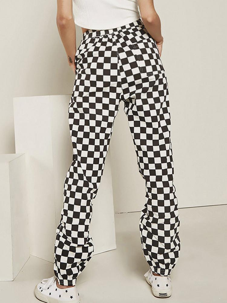 Plaid Check Drawstring Pockets Harem Pants - JNjeans
