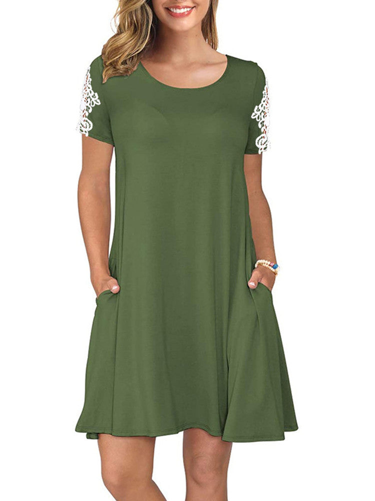 Round Neck Solid Color Pocket Lace Short Sleeve Dress - JNjeans