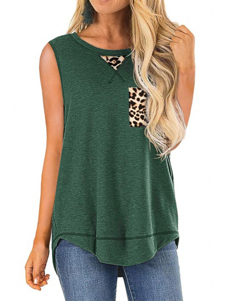 Sleeveless Leopard Printed Casual Tops - JNjeans
