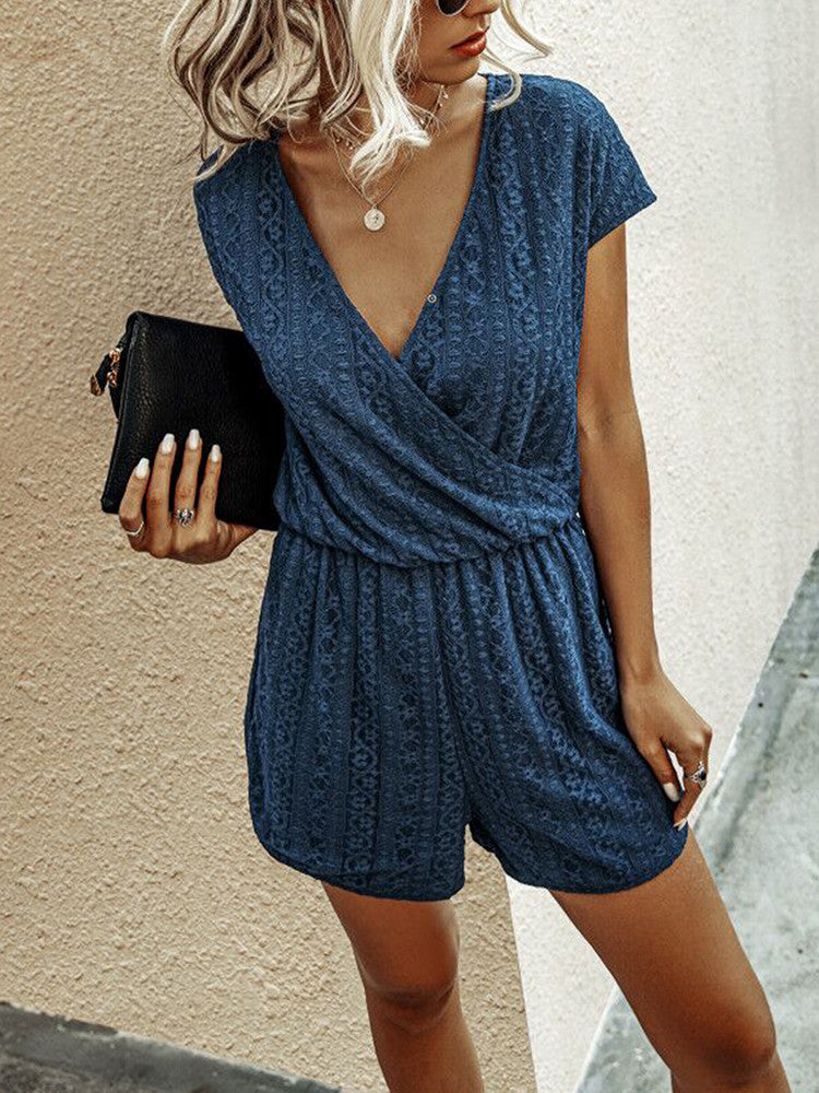 Solid Lace Waist V-Neck Short-Sleeve Romper - JNjeans