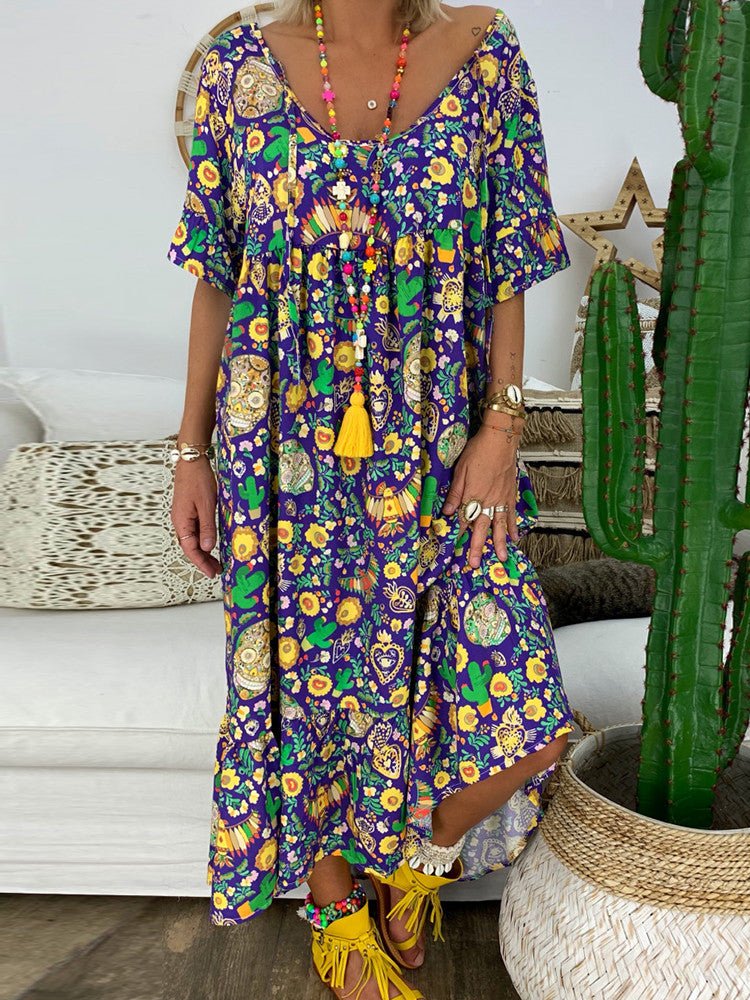 Floral Tunic V-Neck Maxi Shift Dress - JNjeans