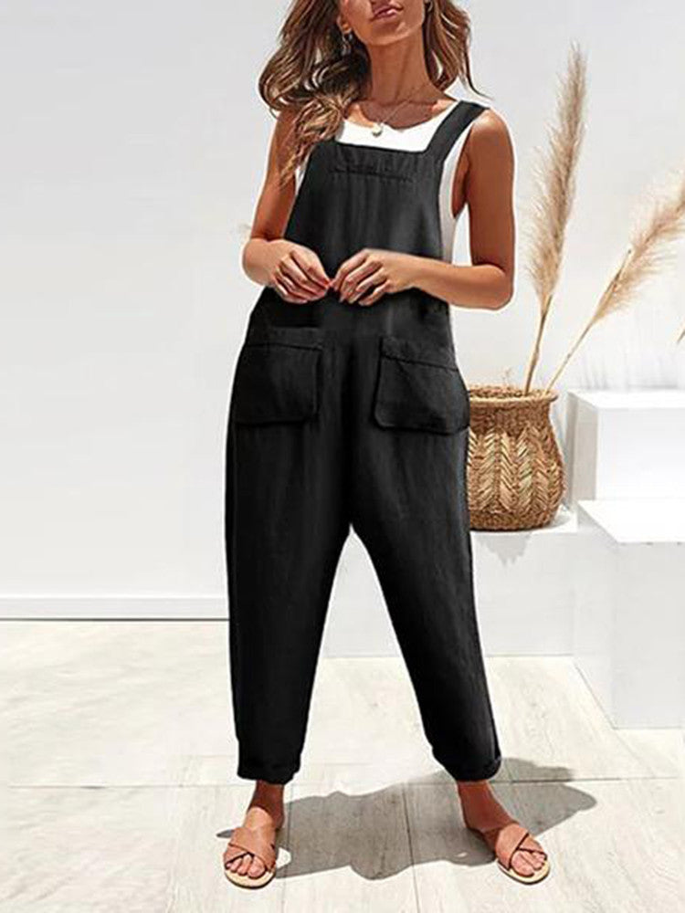 Pockets Mid-Rise Overall Pant Long Jumpsuit - JNjeans
