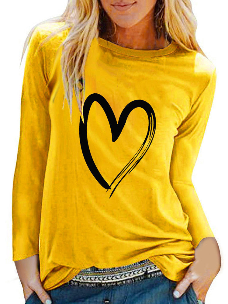 Heart Printed Long Sleeve Casual Tops - JNjeans