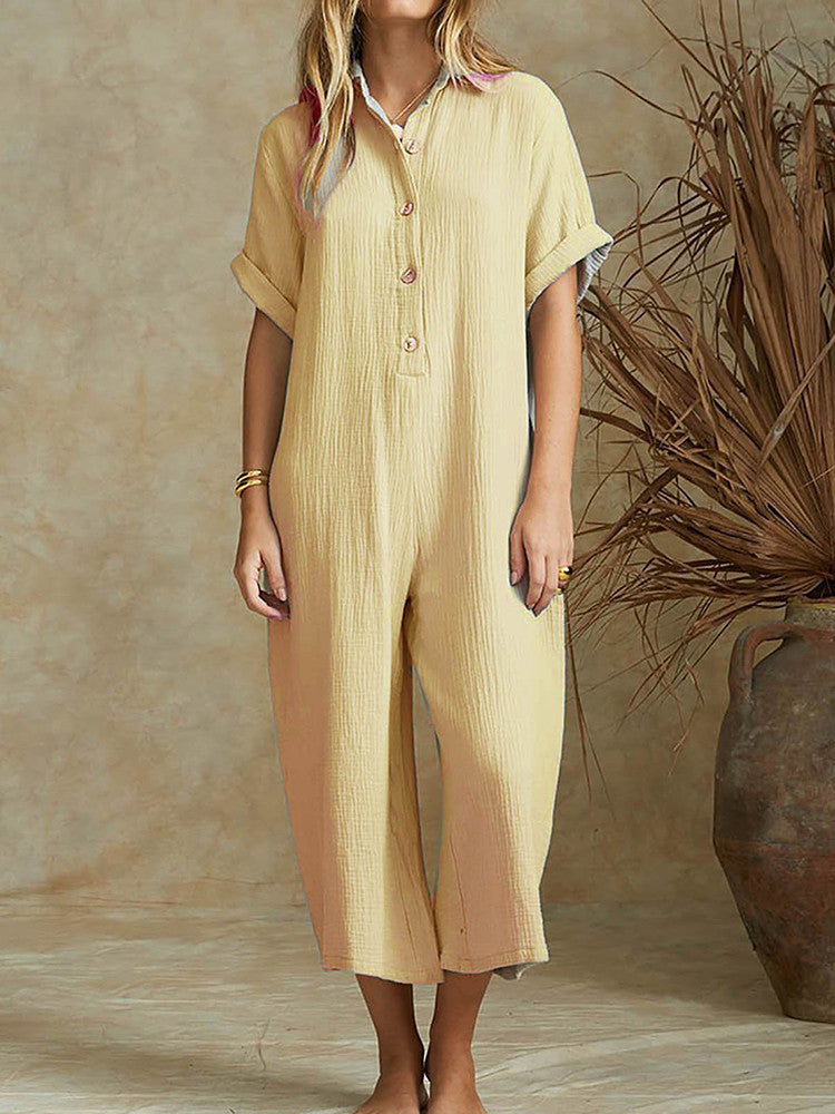 Shirt Collar Short Sleeve Loose Solid Jumpsuit - JNjeans