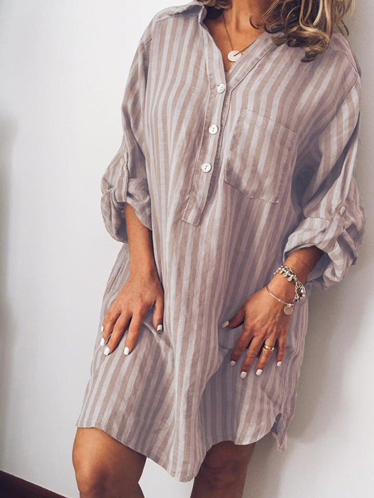 Stripe V-Neck Long-Sleeve Button Loose Shirt - JNjeans