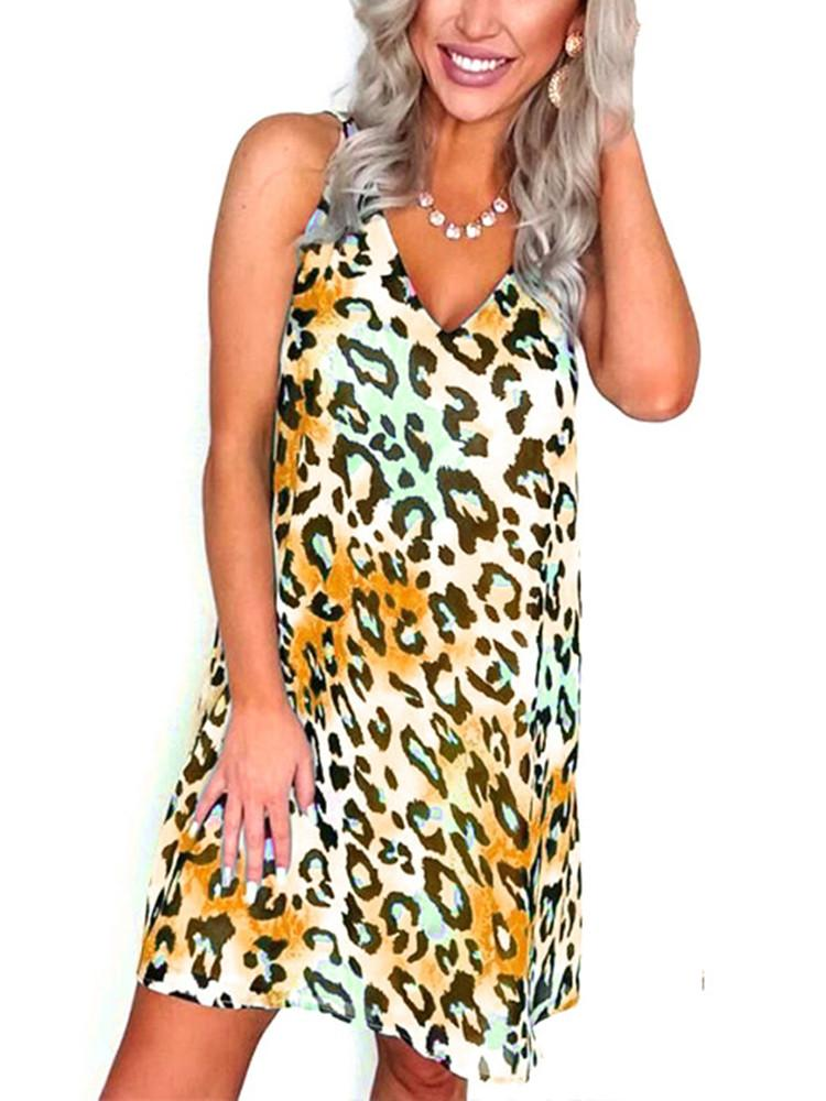Leopard V-Neck Sleeveless Tunic Mini Dress - JNjeans