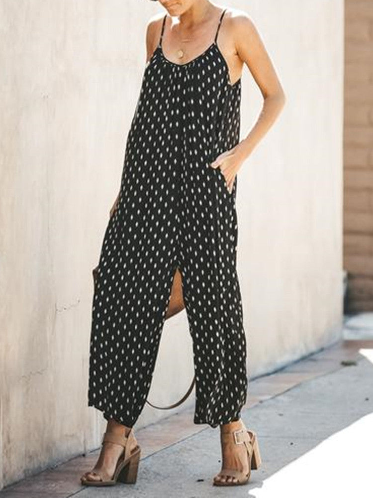 Sleeveless Sling Pockets Loose Jumpsuit - JNjeans