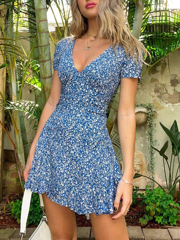 Floral Short-Sleeve V-Neck Mini Dress - JNjeans