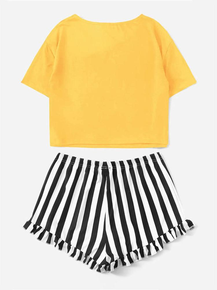 Letter-Print Top Striped Shorts Sleep Two-pieces - JNjeans