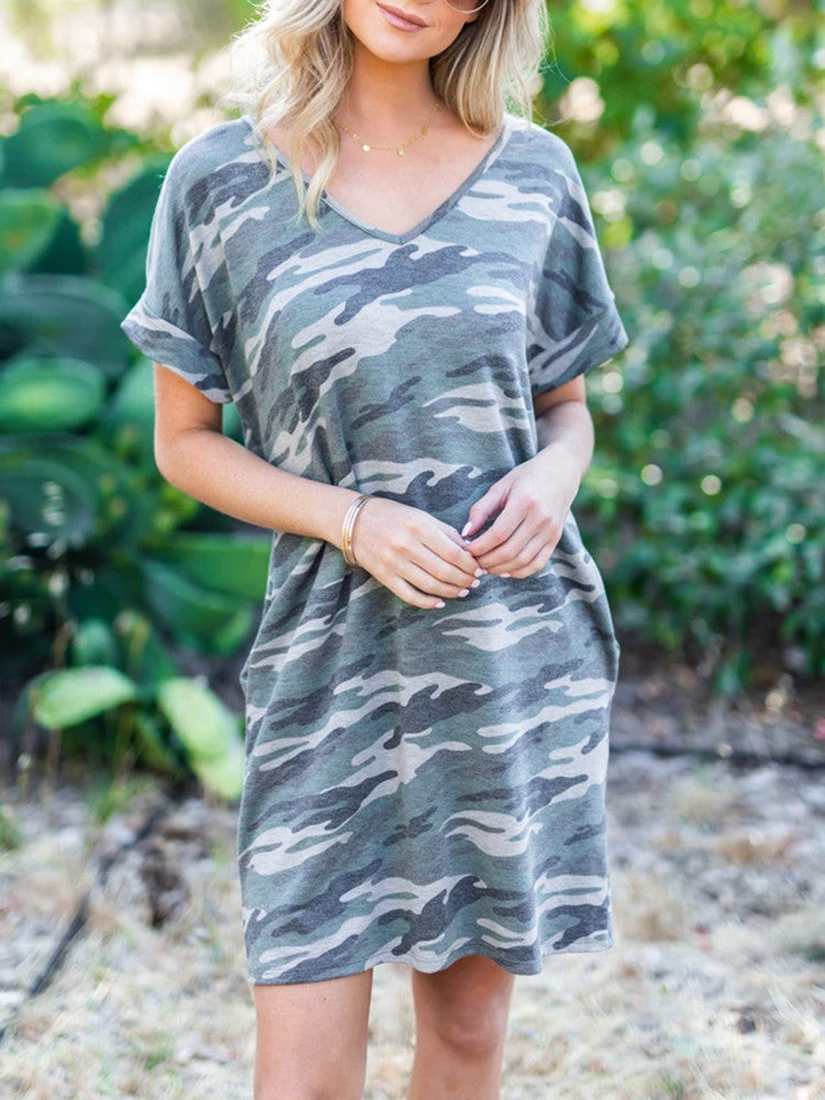Printing V-neck Pocket Loose Short Sleeve Dress - JNjeans