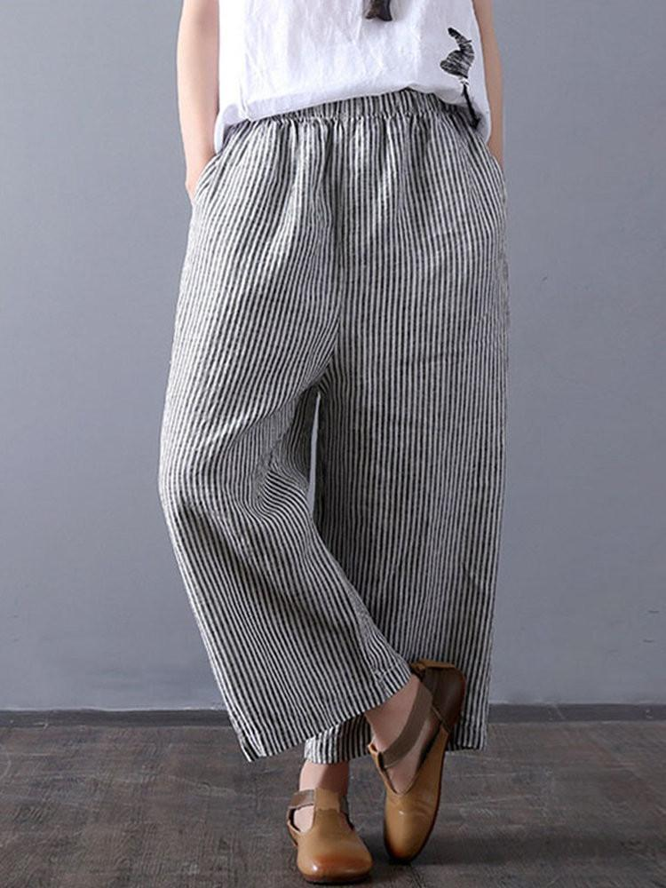 Stripe Print Pocket Wide Leg Pants - JNjeans