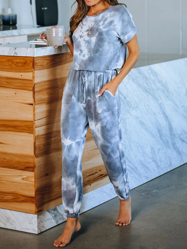 Tie-Dye Short-Sleeve Drawstring Jogger Two-pieces - JNjeans