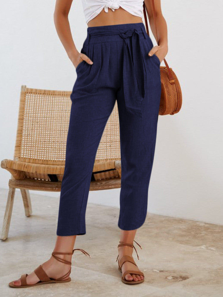 High Waist Lace-up Casual Pants - JNjeans
