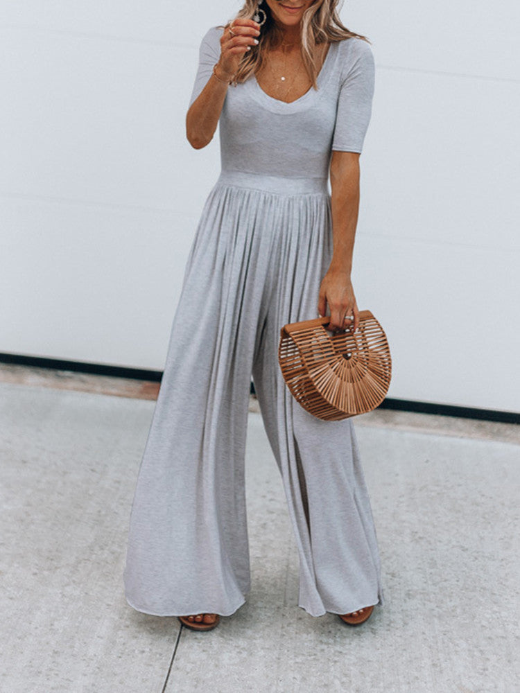 Solid Color Wide Leg Loose Jumpsuit - JNjeans
