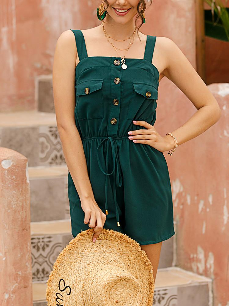 Solid Sleeveless Square-Neck Button-Front Drawstring Romper - JNjeans