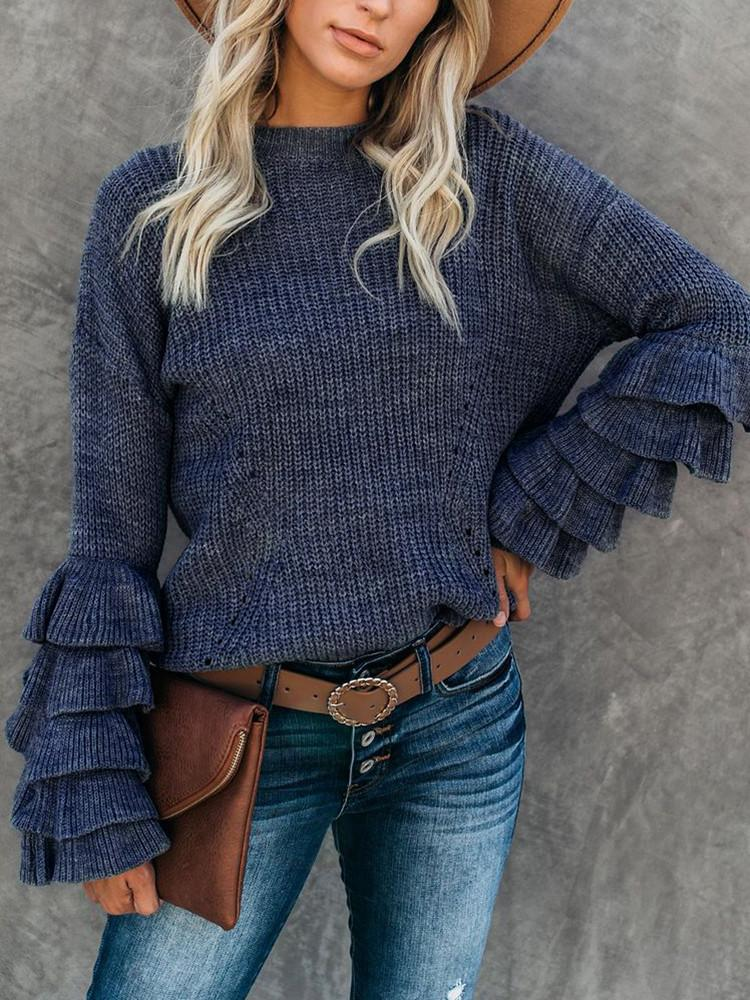Petal-Sleeve-Solid-Round-Neck-Sweater